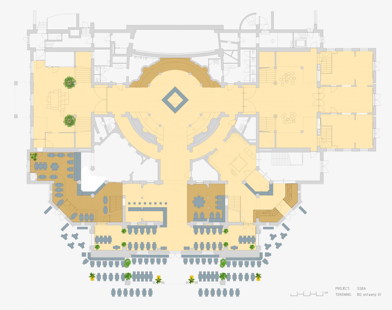 Eustace Architecture Stadschouwburg-interieur - ontwerp - renovatie - plattegrond begane grond